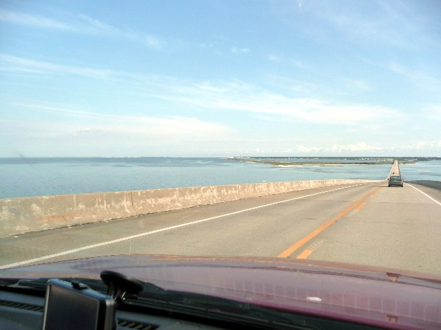 The causeway across Mobile bay to Dauphin Island, AL