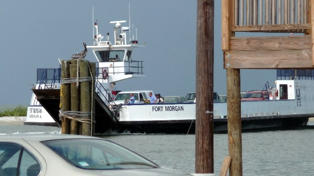 Dauphin Island Ferry coming into the dock on Dauphin Island, AL