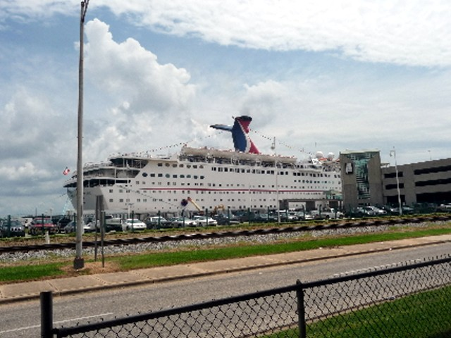 A cruise ship moored at Mobile waterfront